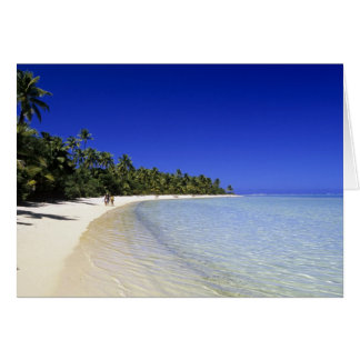 Palm lined beach Cook Islands 8 Card