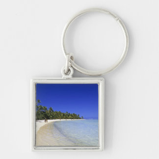 Palm lined beach Cook Islands 8 Keychain