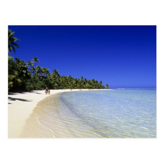 Palm lined beach Cook Islands 8 Post Cards