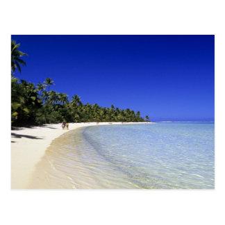 Palm lined beach Cook Islands 8 Postcard