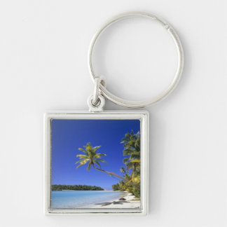 Palm lined beach Cook Islands Keychain