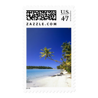 Palm lined beach Cook Islands Stamp