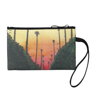 Palm Lined Street at Sundown Coin Wallet