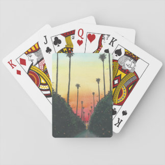 Palm Lined Street at Sundown Playing Cards