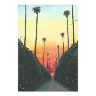 Palm Lined Street at Sunset Watercolor Photo Print