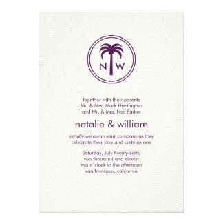 Palm Monogram Summer Beach Destination Wedding Announcement