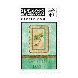 Palm Paradise  - Aqua Love Save the Date Postage