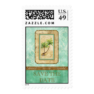 Palm Paradise  - Aqua Love Save the Date Postage