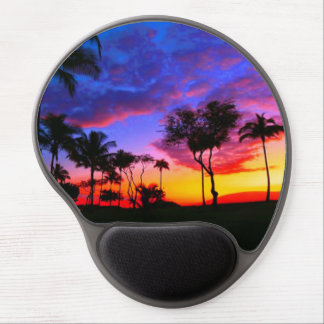 Palm Paradise Blue Red Sky Sunset Photo Gel Mouse Pad