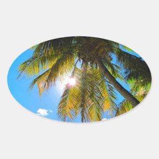 Palm Paradise Blue Sky Sunshine Oval Sticker