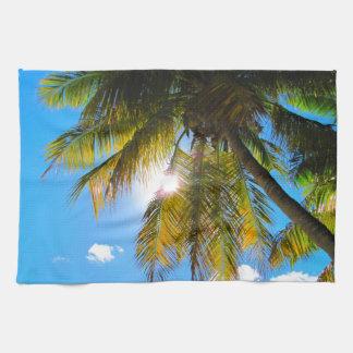 Palm Paradise Blue Sky Sunshine Towel