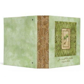 Palm Paradise Green Wedding Photo Scrapbook Binder binder