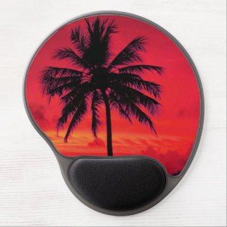 Palm Paradise Red Sky Hawaiian Sunset Gel Mouse Pad