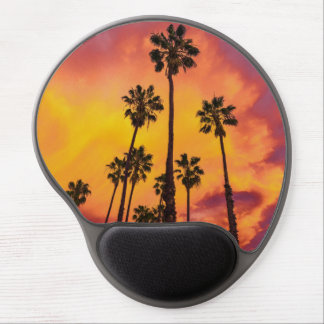 Palm Paradise Red Yellow Sunset Gel Mouse Pad