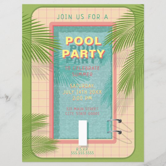 palm pool party flyer invitation zazzle com