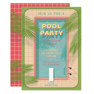 Palm Pool Party Invitation