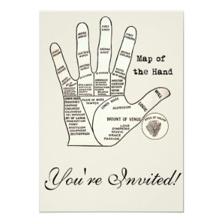 Palm reader map of the hand card