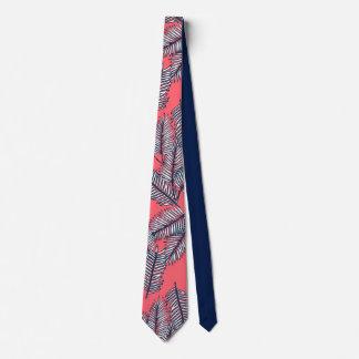Palm retro beach pattern neck tie