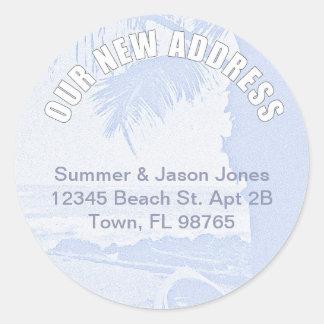 Palm Scene New Address Classic Round Sticker