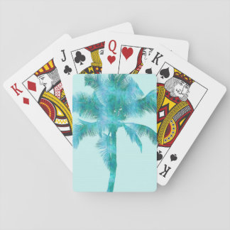 Palm Silhouette Blue Watercolor Background Texture Playing Cards