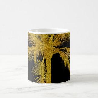 Palm Silhouette Gold Faux Glitter Tropical Design Coffee Mug