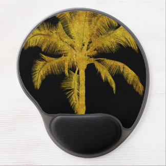 Palm Silhouette Gold Faux Glitter Tropical Design Gel Mouse Pad