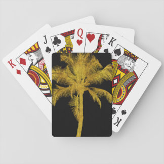 Palm Silhouette Gold Faux Glitter Tropical Design Playing Cards