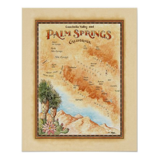 Palm Springs Ca Map Posters