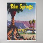 Palm Springs California Retro Vintage Travel Poster