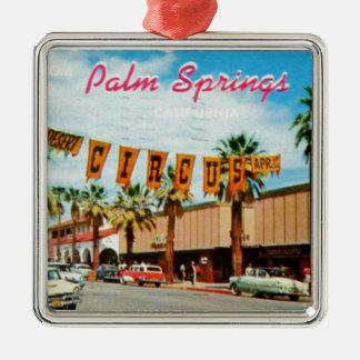 Palm Springs, California - Vintage Postcard Metal Ornament