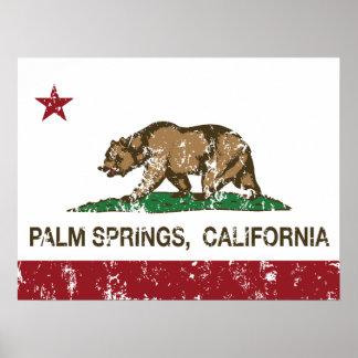 Palm Springs de la bandera del estado de Californi Póster
