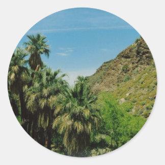 Palm Springs Scene Classic Round Sticker