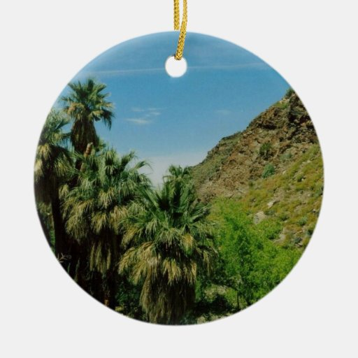 Palm Springs Scene Double-Sided Ceramic Round Christmas Ornament