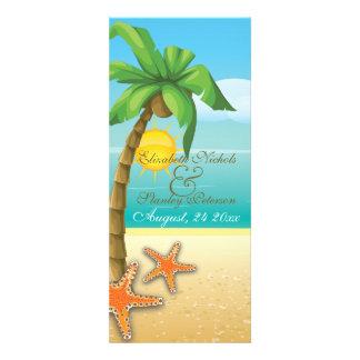 Palm & starfish beach wedding ceremony program invitation