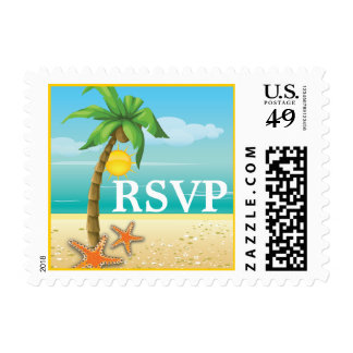Palm & starfish tropical beach wedding RSVP stamp