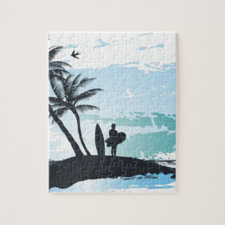 Palm summer surfer background jigsaw puzzle