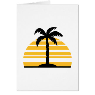 Palm sun island greeting cards