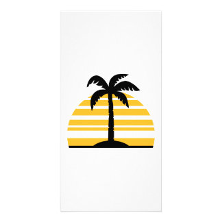 Palm sun island photo greeting card
