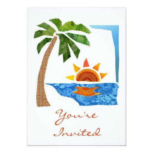 Palm, Sun & Sea 5x7 Paper Invitation Card