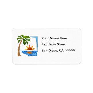 Palm Sun Sea Custom Address Labels