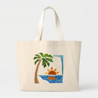 Palm, Sun & Sea Large Tote Bag