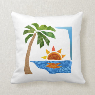 Palm, Sun & Sea Throw Pillow