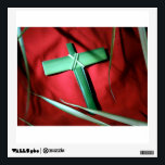 """Palm Sunday Cross on Red Velvet Wall Sticker<br><div class=""""desc"""">Emerald green Palm Sunday Cross on red velvet beautifully printed on gift products. Insignia &quot;By Remi&quot;. Please add your own text. More images at http://frontiernowimages.com</div>"""