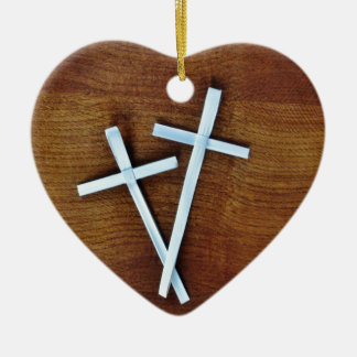 Palm Sunday Crosses Double-Sided Heart Ceramic Christmas Ornament