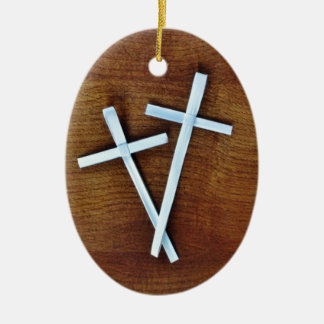 Palm Sunday Crosses Double-Sided Oval Ceramic Christmas Ornament