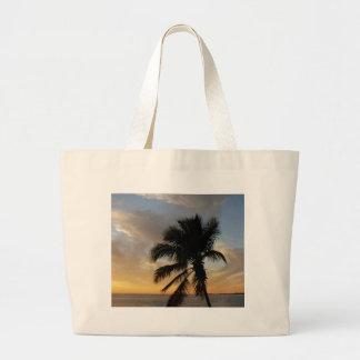 Palm sunset large tote bag