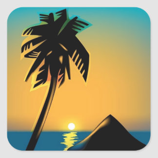 Palm Sunset Square Stickers