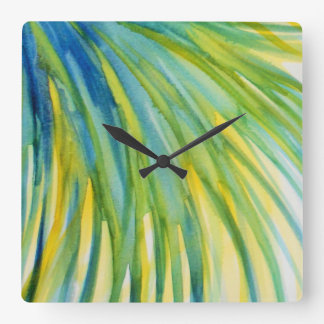 Palm Tree Abstract Watercolor Square Wall Clock