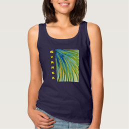 Palm Tree Abstract Watercolor Tank Top