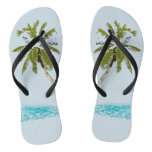 Palm Tree Adult Slim Straps Flip Flops
